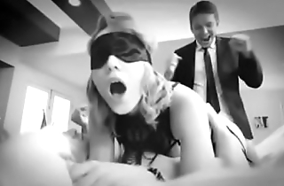 Blindfolded hotwife sharing with friend and doble penetration