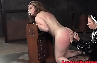Spanked auntie sub throated by strapon nun