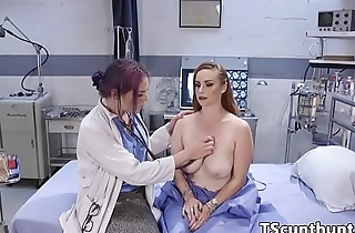 Transgender doctor seduces busty babe