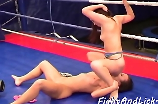 Sixtynine pose loving dykes wrestling