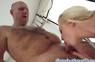 Alluring beauty drilled by a horny pensioner