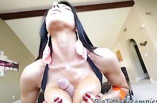Busty milf titfucked and jizzed on fake tits