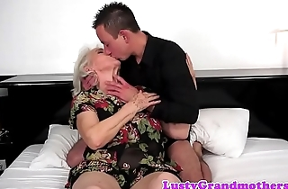 Chubby grandma titfucked increased by pussy banged