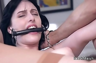 Babe tied up with leather strap anal fucked