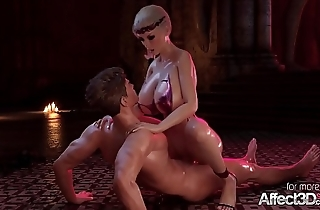 ANIMATED BLONDE CERENE TAKES Gargantuan COCK IN ALL HOLES