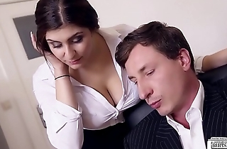 BUMS BUERO - Brass hats fucks busty German secretary and cums on her big tits