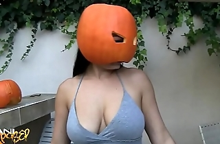 Aria Giovanni Naked with Pumpkin on Head - Aziani Exposed