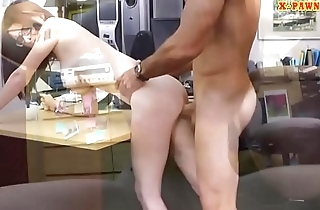 Cute babe with glasses boned by pawn man
