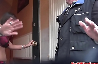 Stockinged dutch hooker gets jizzed in mouth
