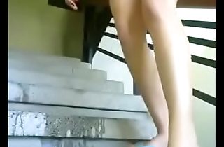 Hot latina milf squirting at the stairs