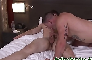 Muscular hunk cocksucking army stud