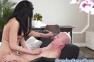 Pussyfucked petite euro fucked by a senior