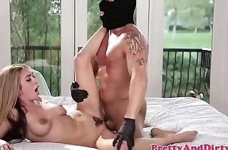 Inked blonde babe pounded by masked guy