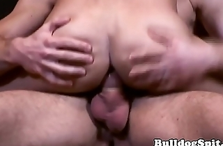 Submissive twink wanks cumload while assfucked